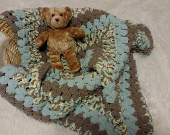 Blue & Brown Granny Square Baby Blanket