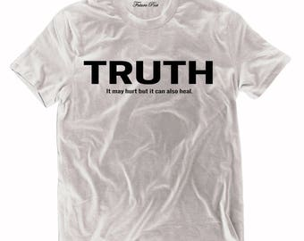 Men's White T-shirt with empowering quote (Truth)