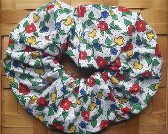 Hair Scrunchie-White with Yellow and Red Flowers and Vines