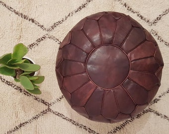 Premium Handmade Moroccan Leather Pouf Ottoman, Genuine leather Moroccan Pouf , pouffe , ottoman,P03