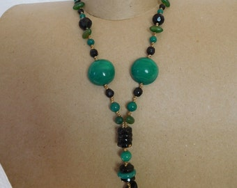 Necklace glass beads and Crystal