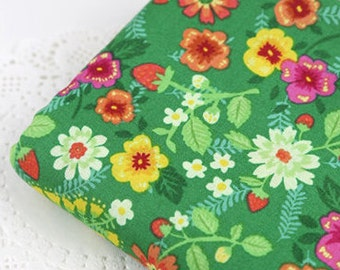 Vivid green flowers, Cotton 100% fabric, by Yard