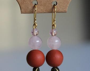Clay & Rose Quartz Beaded Drop Earrings, 18 Karat Gold