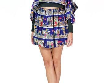 Redesigned Vintage Nicole Miller Limited Edition Menswear Cold Shoulder Skirt Set (2 Pieces)