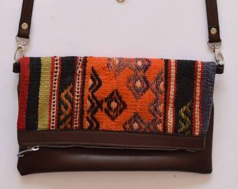 Clutch Bag-023 Handbag Vintage Kilim Rug Genuine Leather Bohemian Bag Boho Bag Hippie Bag