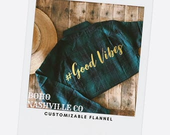 Flannel shirt, # Good Vibes shirt, Gift for him , Gift for her, Dog Lovers Gift, custom Flannel Shirt, gold foil, Gift, COTTON Shirt