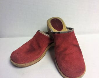 Vintage BURBERRY Red Leather Wooden Clogs Mules Sz 8 USA 39 EU 6 Uk Excellent Condition
