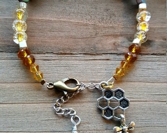 Bee Hive single wrap bracelet
