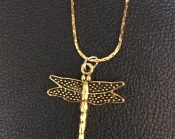 Dragonfly Necklace Gold Color