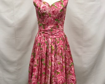 Suzy Perette 1950s pink rose floral dress XS