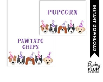 Dog Food Tent Card / Puppy Food Tent Card / Dog Place Card / Puppy Place Card / Doggie Canine Pink Purple Girl / DIY Printable DG03