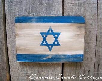 Israel, Rustic Wooden Flags, Patriotic, Wall Hangings, Home Decor, Gifts, Wooden Flags, Handpainted, Jewish Flags, Rustic, Travel, Flags