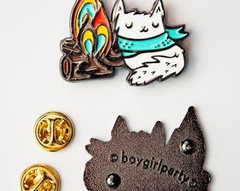 cat pin enamel pin CAMPING enamel pin, campfire cat enamel pin, fire enamel pin, camping gift, adventure enamel pin, white cat pin, fire pin