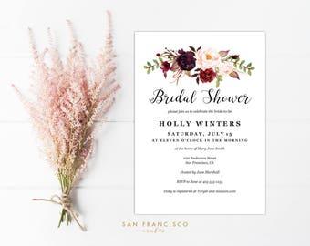 Bridal Shower Invitation INSTANT DOWNLOAD    Editable Bridal Shower Invite Template   watercolor, roses, winter   Holly - v3   PDF