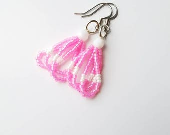 Pink & White Earrings