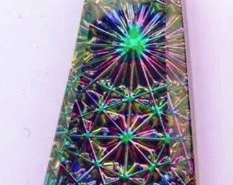 German Foil Glass, Kaleidoscope Pendant, #6177, 32mm X 16mm (LARGE), Electra