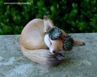 Sleeping Fennec Fox Steampunk Myxie Pal Sculpture