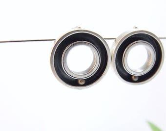 Silver Earrings Round Earrings Handmade Kinetic Earrings Kinetic Jewelry Post Earrings Silver Brass Gifts For Her Round Earrings