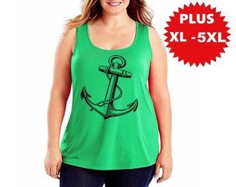 Plus Size Anchor Tank Top Curvy Women's nautical shirts with anchors gift XL 2XL 3XL 4XL Clothing Beachwear Summer tops plus size shirt