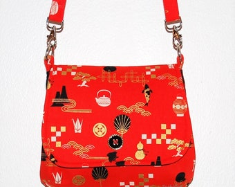 Japanese Designs Mini Messenger Bag - Asian Print, Origami Crane, Japan Print, Koi Fish, Shoulder Purse, Crossbody Purse, Red and Gold Purse
