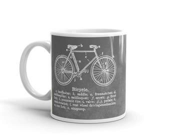 Man Valentines Gift- for Him- Bike Mug- Bicycle Mug- Bike Mugs- Bicycle Gifts for Men- Bike Gift- for Cyclist- Gray Mug- Bicycle Coffee Mug