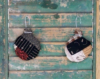 2 Rustic Christmas Ornaments, Boho Holiday Decor, Farmhouse Christmas, Antique Quilt Farmhouse Decor, Black White Red Brown - READY TO SHIP