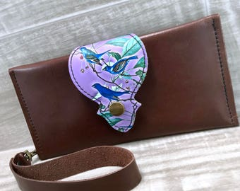 Leather Long Wallet fits Passport/ Phone with Wrist Strap & Zipper Pocket, Medium Brown / Blue Birds Print on 100% Genuine Leather