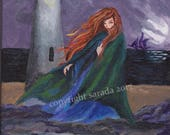 Gothic cloaked woman by ocean lighthouse, original acrylic painting 8 x 10 dark fantasy art, pirate ship, mystery horror art