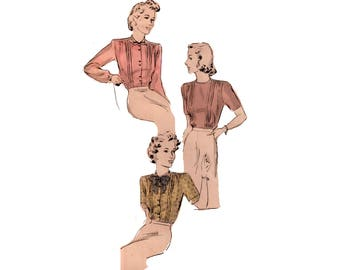 40s Pussy Bow Blouse pattern High Collar Blouse vintage pattern 32-26.5-35 XS Fitted Blouse Old Hollywood Blouse Button Back Butterick 2094