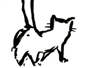 Original Black Cat Gouache Painting ACEO number 164