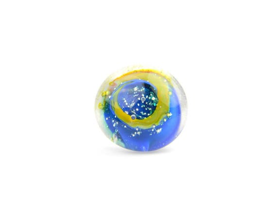Art Glass Ring - Blue Galaxy Art Glass Bead Sterling Silver Ring - Classic Collection