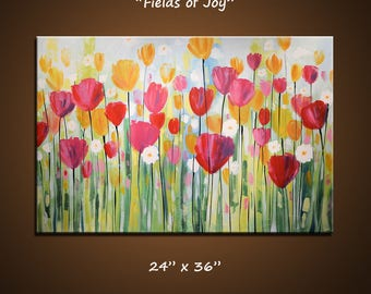 Extra large wall art / big painting / red floral wall decor / flower art / original painting / original art / huge painting / Amy Giacomelli