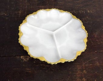 Vintage Milk Glass Divided Tray, Anchor Hocking White Serving Dish, 22 Kt Gold Scalloped Rim, Gift for Her or Housewarming