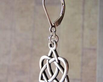 Silver Earrings Sterling Silver Leverback Ear Wires Tierracast Pewter Open Heart Charm