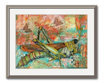 Grasshopper Art | mixed media art | collage art | nature art | coral Orange aqua teal turquoise green mint | PRINT