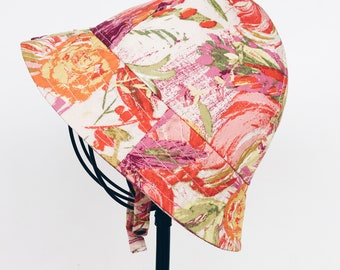Baby Girl Sun Hat in Pink Floral Cotton Fabric, Modern Baby Sun Hat, Baby Bonnet, Blue Corduroy Hats