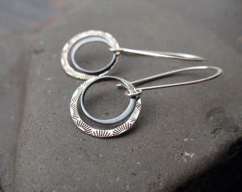 Double Circle Earrings, Unique Earrings, Dangle Earrings, Sterling Silver, Everyday Earrings, Stamped Silver, Handmade Earrings, Modern