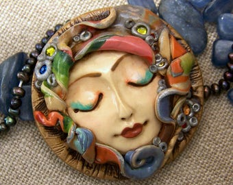Bohemian Goddess Colorful handmade OOAK Cameo Face Cab Handmade Polymer Clay beading cabochon with Crystal accents