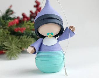 Baby's First Christmas ornament paper figurine, baby boy ornament in blue, gift for new parents, gift for new baby, paper quilling art