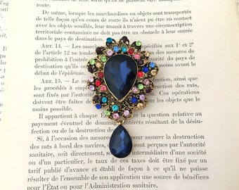 Navy Wedding Brooch.Navy Rhinestone Brooch.Navy pin.broach.Blue gold.colorful.vintage style.crystal.wedding accessory.bridal.bride.navy blue