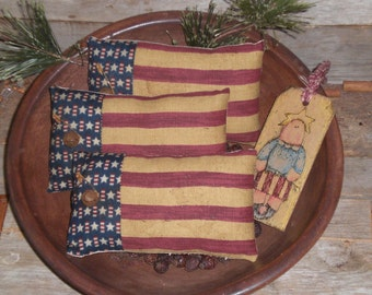 3 Primitive Rustic Americana Patriotic July 4 Independence Day Red White Blue USA Flag Bowl Fillers Ornies Ornaments Tucks Shelf Sitters