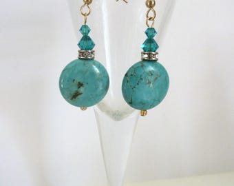 Turquoise drop earrings.  Gold plated earrings with turquoise gemstones,swarovski crystal and diamante.Turquoise jewellery. Free delivery