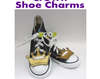 CROWN Shoe Charms Wings Tags Machine Applique Embroidery design ITH In The Hoop cosplay queen king royalty shoelace halloween