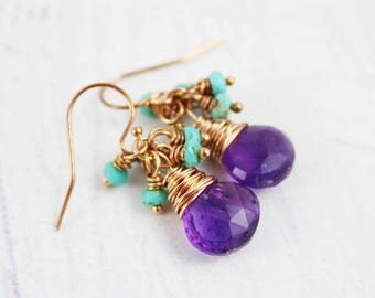 Amethyst Rose Gold Earrings, February Birthstone Earrings, Purple Amethyst Earrings, Turquoise Gemstone Earrings, Amethyst Drop Earrings