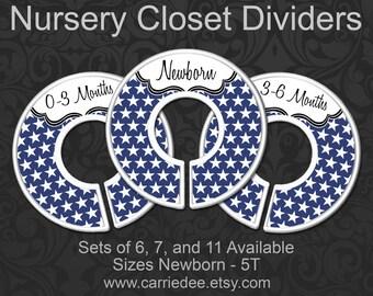 Navy Blue Stars Nursery Closet Dividers, Blue Stars Baby Clothes Dividers, Baby Clothes Organizers, Navy Nursery Decor, Star Decor