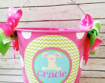 Hello Bunny Easter Basket | Personalized Easter Bucket | Girls Easter Bucket | Easter Basket for Kids | Child's Easter Bucket |