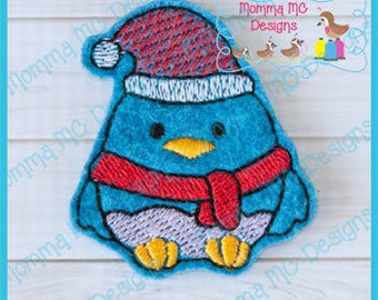 Santa Bird Felt Feltie Embroidery Design