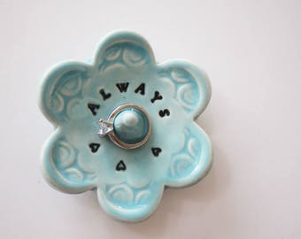 Stamped pottery dish, Keepsake Ring Dish for the bride, Always,  Wheel Thrown, Clay Pottery, In Stock