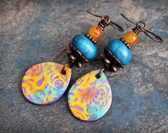 Orange Blue. Colorful Artisan made earrings. Colorful boho earrings. Fun and lightweight. Handmade beads, antiqued solid copper.