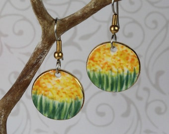 Yellow Monet Earrings Handmade Porcelain Dangle Ceramic Clay Jewelry